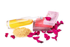Spa setting with  soap, rose candle and rose Stock Image