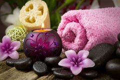 Spa setting with spa stones Royalty Free Stock Images