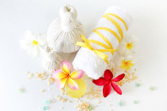 Spa setting. With towel soap and flowers on white background Stock Image