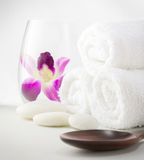 Spa setting with towels Royalty Free Stock Image