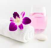 Spa setting with towels Stock Photography