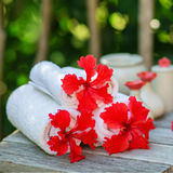 Spa setting with towels and red hibiscus flowers Stock Images