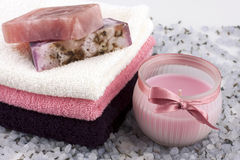 Spa still life with bath towels and natural soap Royalty Free Stock Photos