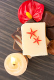 Spa setting with two starfish Stock Photo