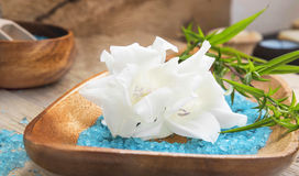 Spa Setting with White Lilies Royalty Free Stock Images