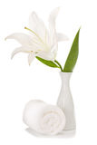 Spa setting with white lily. Isolated on the white background Royalty Free Stock Image