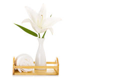 Spa setting with white lily Stock Images