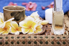 Spa Setting wih Rattan Repose Stock Photo
