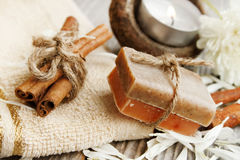 Spa setting with natural soap Stock Image