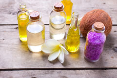 Spa  setting in  yellow and violet  colors. Stock Photos