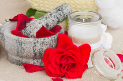 Spa settings with fresh red roses Stock Images