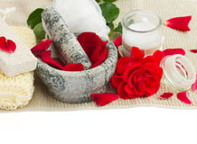 Spa settings with fresh roses on white Royalty Free Stock Images