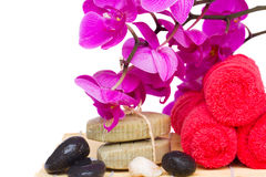 Spa settings with orchid Stock Image