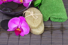Spa settings with orchids Stock Image