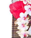 Spa settings with red ochideas Stock Image