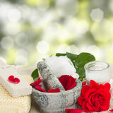 Spa settings with roses Royalty Free Stock Photo