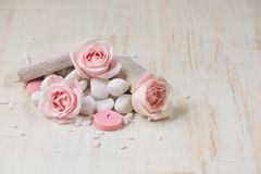 Spa settings with roses. Various items used in spa treatments on Stock Image