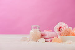 Spa settings with roses. Various items used in spa treatments on Royalty Free Stock Photography