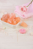 Spa settings with roses. Various items used in spa treatments Stock Image