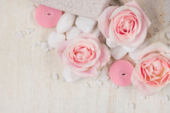 Spa settings with roses. Various items used in spa treatments Stock Photo