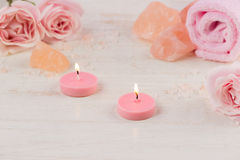 Spa settings with roses. Various items used in spa treatments on Royalty Free Stock Image