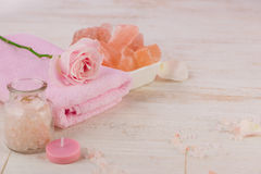 Spa settings with roses. Various items used in spa treatments on Stock Photo