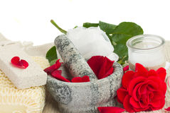 Spa settings with roses on white Stock Photo