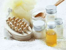 Spa Settlement with Essential Oil Bottles Stock Images