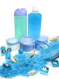 Spa shampoo bottles creme sea shells and salt Stock Images