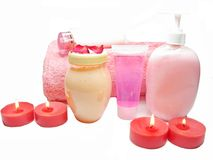 Spa shampoo shower gel rose petals and cremes Stock Image