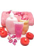 Spa shampoo shower gel rose petals and cremes Royalty Free Stock Photography
