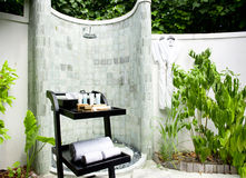 Spa shower area outside Royalty Free Stock Images