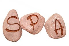 SPA Sign Engraved On The Stones Isolated Royalty Free Stock Images