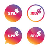 Spa sign icon. Spa leaves symbol. Stock Photos