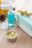 Spa sitting with handmade soaps Royalty Free Stock Photo