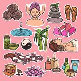 Spa sketch icons color Stock Photo