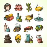 Spa Sketch Icons Colored Stock Image