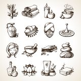 Spa Sketch Icons. Spa Sketch Decorative Icons Set With Bamboo Towels Aroma Candles Isolated Vector Illustration Stock Photo