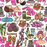 Spa sketch seamless pattern color Royalty Free Stock Image