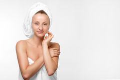 Spa skin care beauty woman wearing hair towel Royalty Free Stock Photo