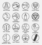 Spa and skin icon / massage stone face mask relax facial treatment candle cucumber lotion collagen foot orchid dry ha. Spa and skin icon / massage stone face vector illustration