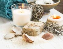 Spa snäckskal som ställer in med den naturliga tvål och stearinljuset royaltyfri bild