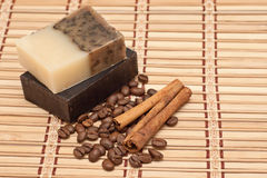 Spa soap, coffee and cinnamon Stock Photography