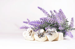Spa soap hearts with a lavender flowers Royalty Free Stock Photography