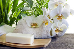 Spa soap and orchid closeup Royalty Free Stock Image