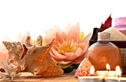 At SPA, Soap, Shells, Candles, Lotus Flowers Stock Images