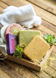 Spa soap in a wooden box Royalty Free Stock Photo