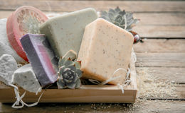 Spa soap in a wooden box Royalty Free Stock Photos