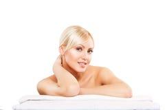 Spa Sonrisa de la mujer de la belleza del skincare de la cara feliz Foto de archivo