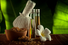 Spa staff. Close up view of spa theme objects on green back Stock Photo